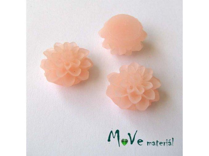 Kabošon květ transparentní A6 - resin - 2ks, světlý losos