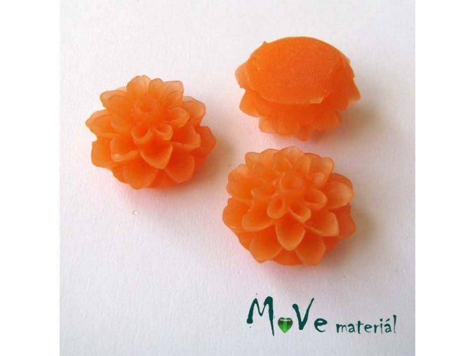 Kabošon květ transparentní A6 - resin - 2ks, oranžový