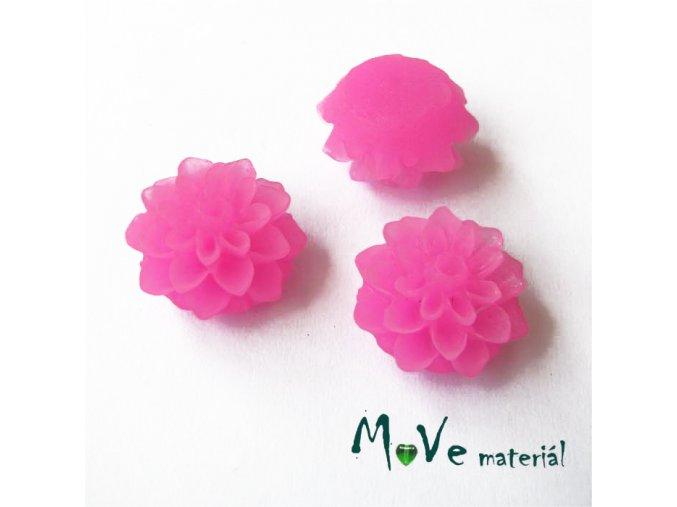 Kabošon květ transparentní A6 - resin - 2ks, tmavě růžový