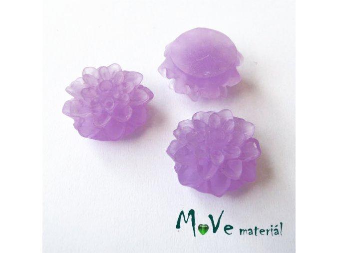 Kabošon květ transparentní A6 - resin - 2ks, tmavě fialový