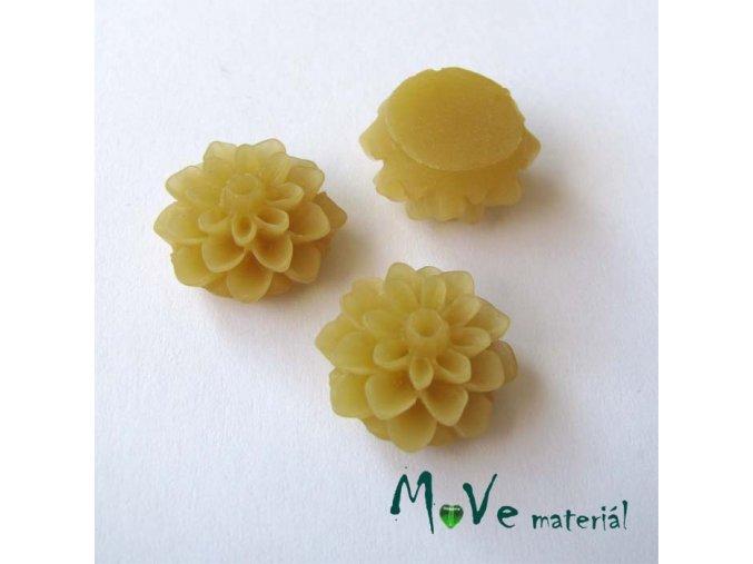 Kabošon květ transparentní A6 - resin - 2ks, béžový