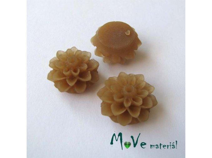 Kabošon květ transparentní A6 - resin - 2ks, hnědý