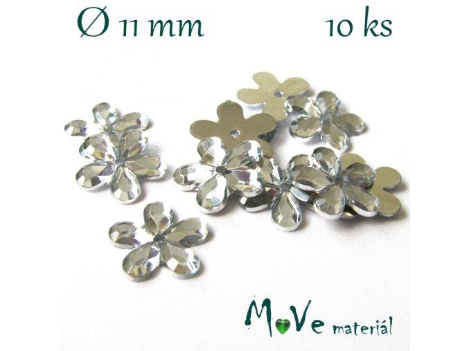 Květina plast 11mm našívací 10 ks crystal