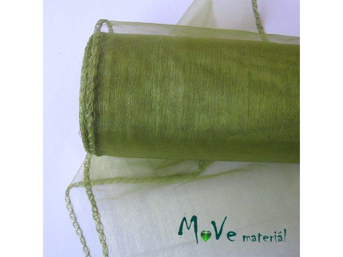 organza olivová š. 15 cm/ 1m