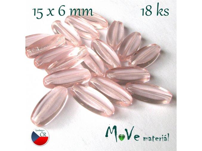 Český skleněný šváb 15x6mm,18ks, růžový