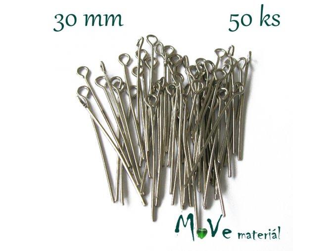 Ketlovací jehla platinová 30mm, 50ks