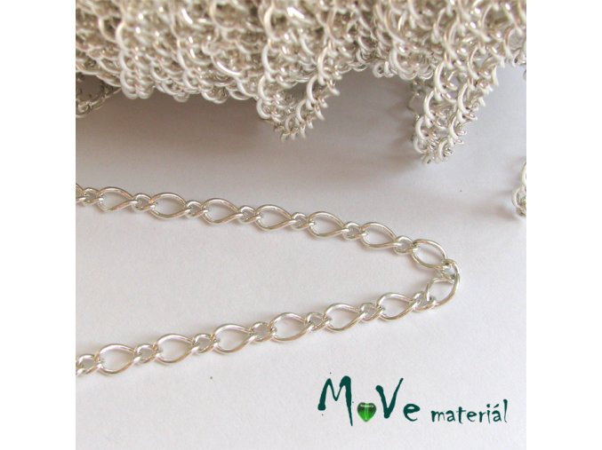 Řetízek kovový - délka 1m, stříbrný