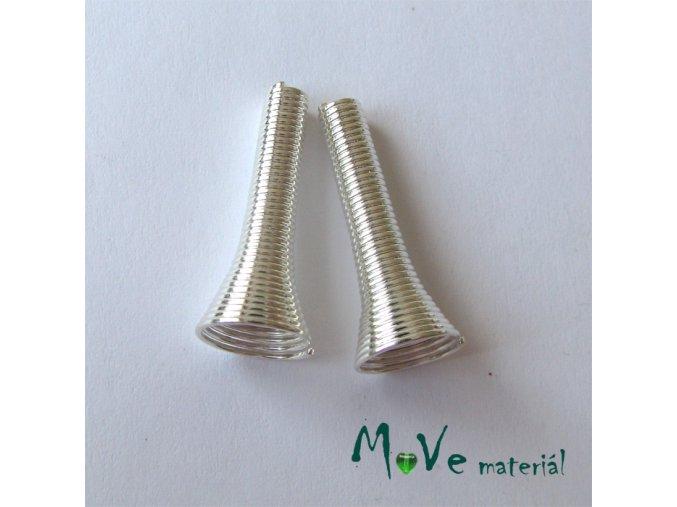 Kaplíky spirálka 24x10mm -3mm, 2ks, stříbrné