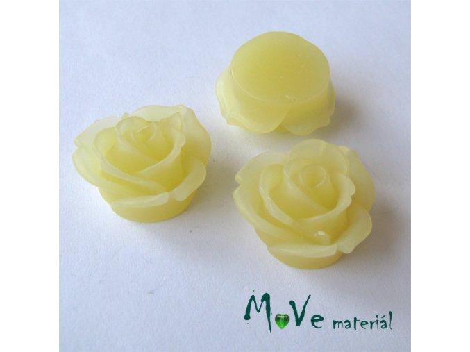 Kabošon květ průsvitný A2 - resin - 2ks, tm. vanilka
