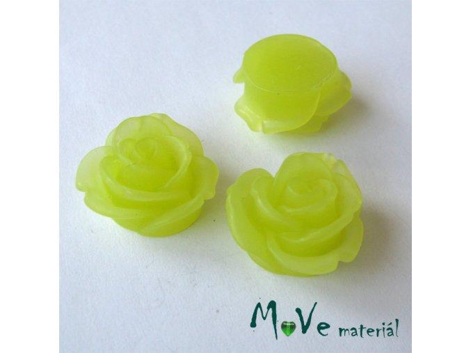 Kabošon květ průsvitný A2 - resin - 2ks, žlutozelená