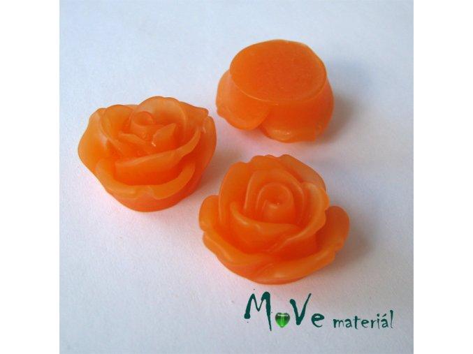 Kabošon květ průsvitný A2 - resin - 2ks, oranžový