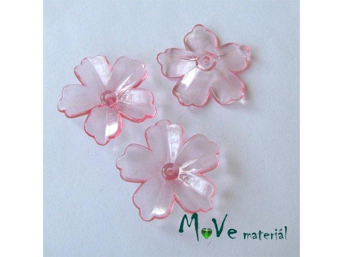 Akrylový transparentní květ 28mm, 4ks, sv. růžový