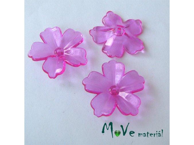 Akrylový transparentní květ 28mm, 4ks, tm. růžový