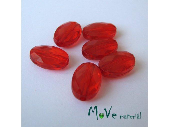 Korálek plast šváb 10x15mm, 6ks, červený
