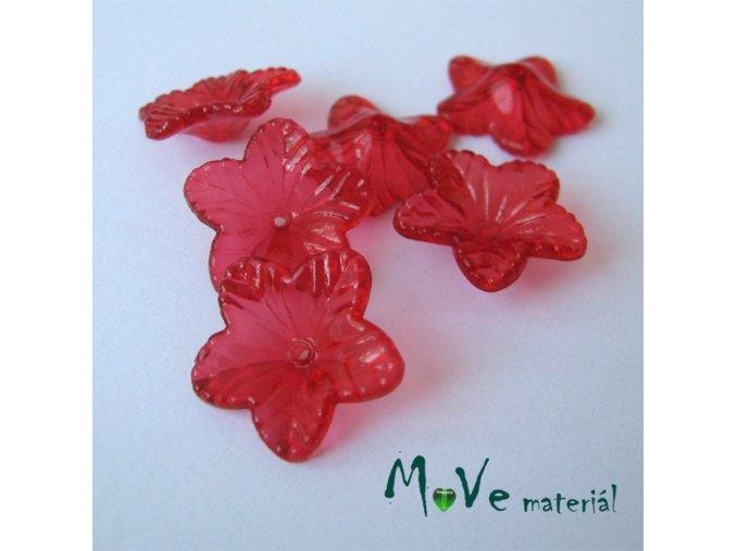 Akrylový květ 18mm, 6ks, červený