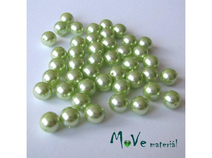 České voskové perle sv. zelené 7mm, 44ks cca 20g