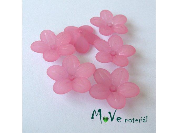Akrylový transparentní květ 20mm, 6ks, růžový