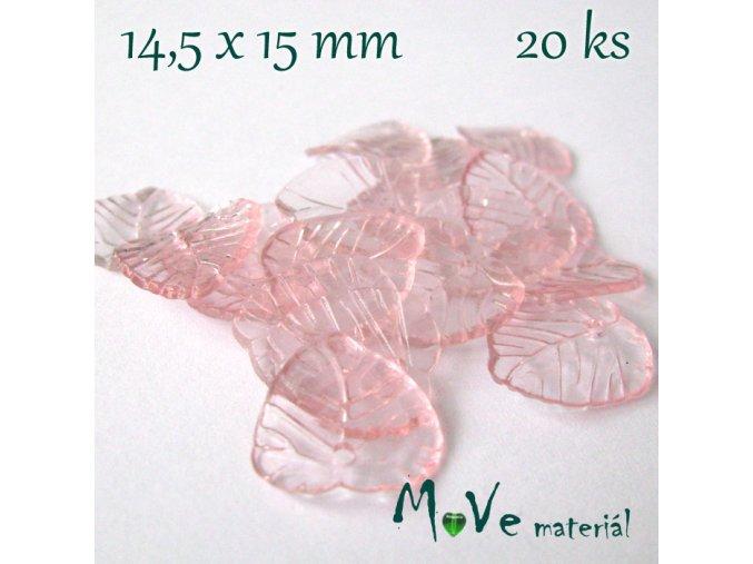 Akrylové transparentní lístečky, 20ks, růžové