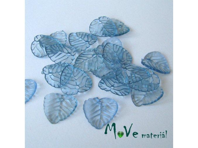 Akrylové transparentní lístečky, 20ks, modré