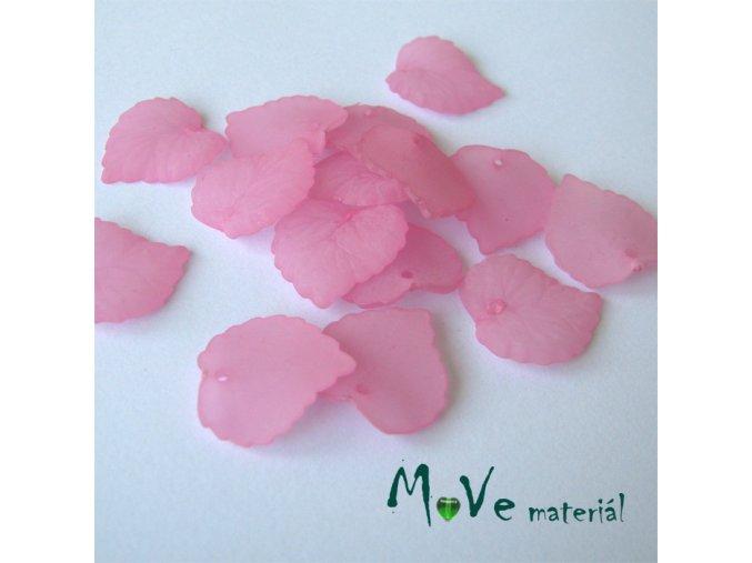 Akrylové transparentní lístečky, 15ks, tm. růžové