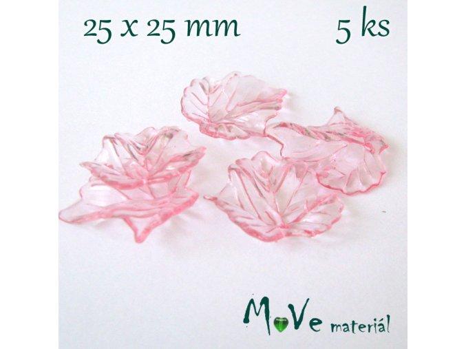 Akrylové transparentní lístečky, 5ks, růžové