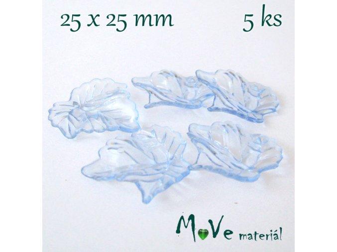 Akrylové transparentní lístečky, 5ks, modré