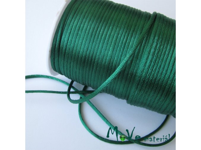 Šňůra 2mm saténová smaragdová,1m