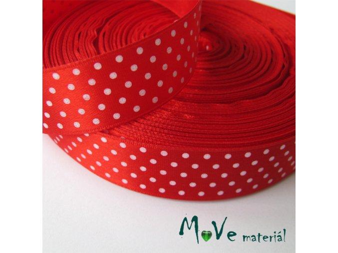 Stuha saténová - puntíky 20mm, 1m, červená
