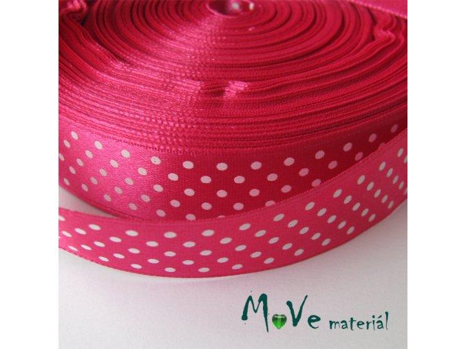 Stuha saténová - puntíky 20mm, 1m, růžová