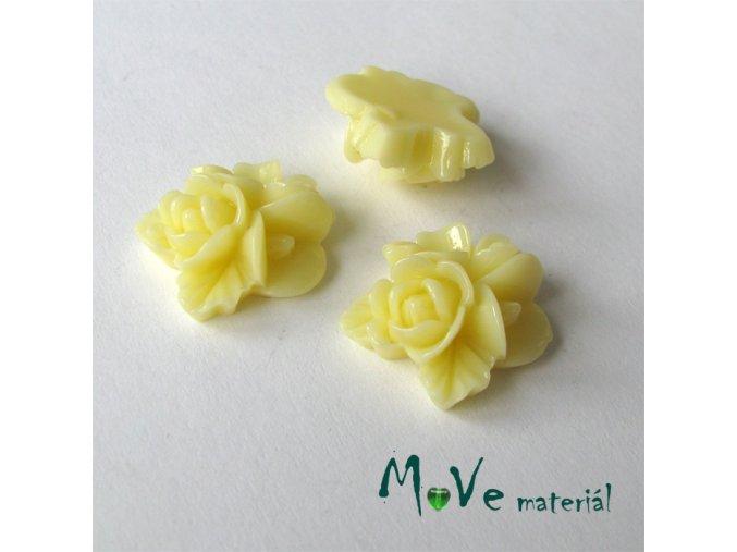 Kabošon květy lesklý A8 - resin - 2ks, vanilkový