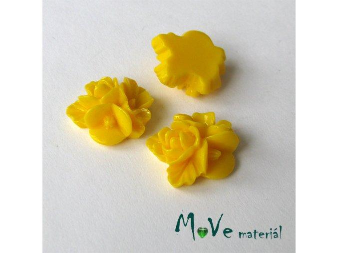 Kabošon květy lesklý A8 - resin - 2ks, žlutý