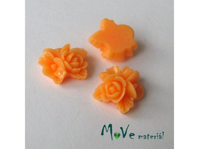 Kabošon květy lesklý A8 - resin - 2ks, světle oranžový