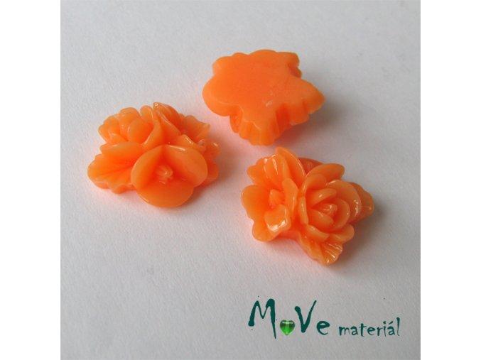 Kabošon květy lesklý A8 - resin - 2ks, oranžový