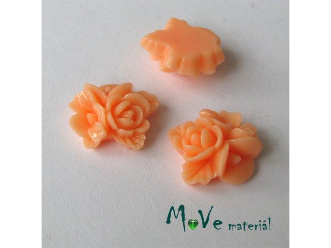 Kabošon květy lesklý A8 - resin - 2ks,lososový