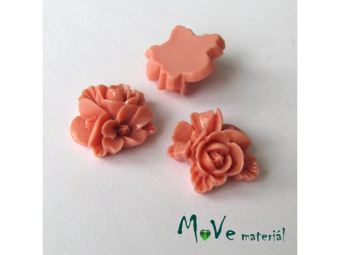 Kabošon květy lesklý A8 - resin - 2ks, starorůžový