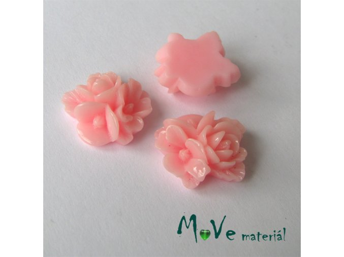 Kabošon květy lesklý A8 - resin - 2ks, světle růžový