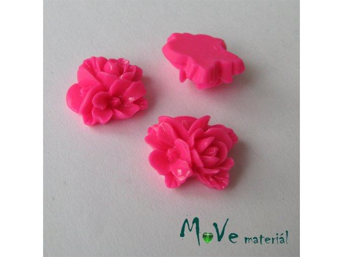 Kabošon květy lesklý A8 - resin - 2ks, tmavě růžový