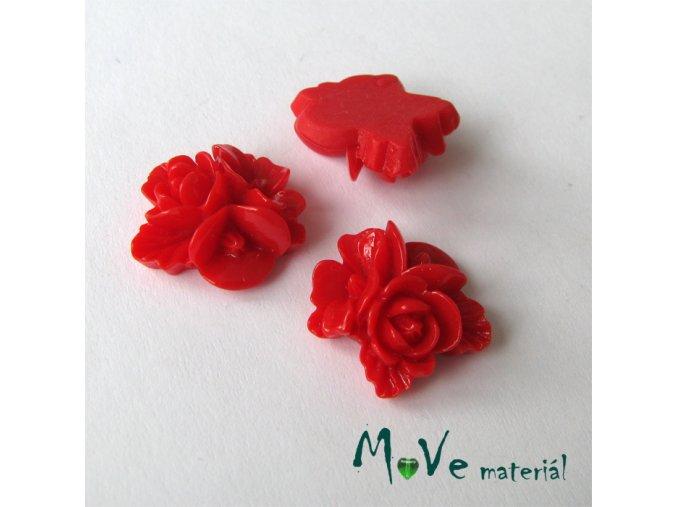 Kabošon květy lesklý A8 - resin - 2ks,červený