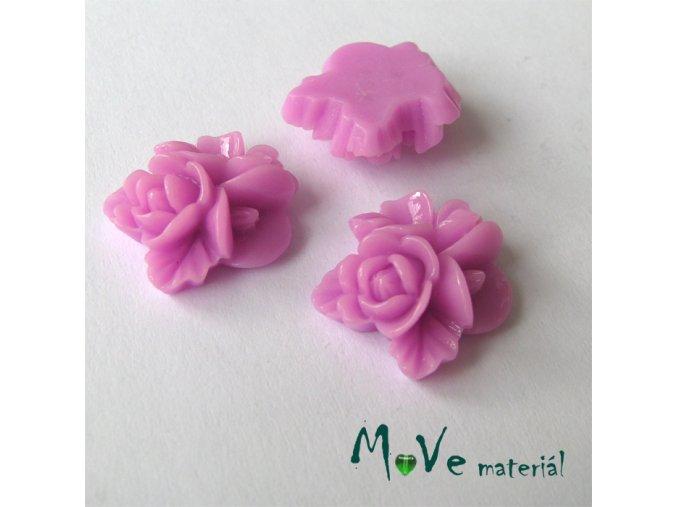 Kabošon květy lesklý A8 - resin - 2ks, růžovofialový