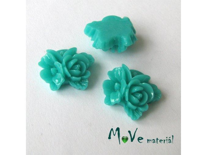 Kabošon květy lesklý A8 - resin - 2ks, brčálový
