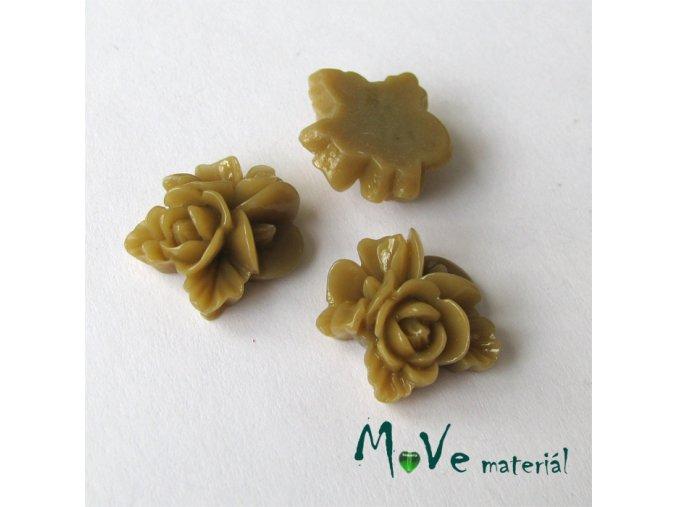 Kabošon květy lesklý A8 - resin - 2ks, hnědý