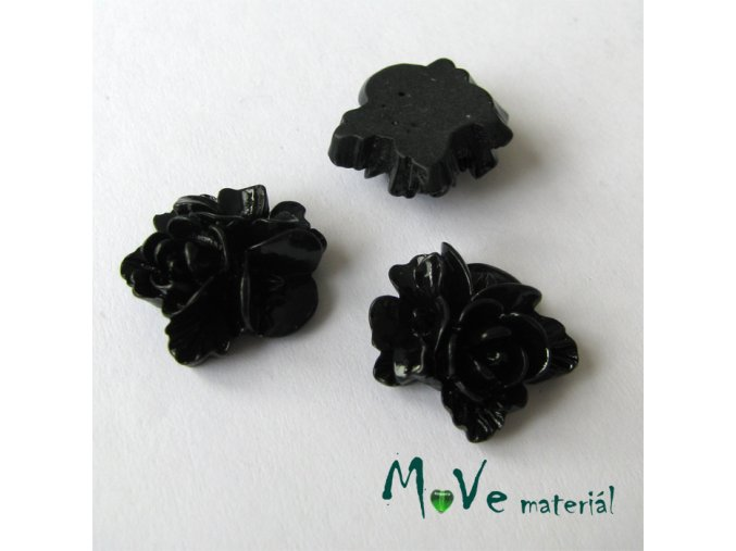 Kabošon květy lesklý A8 - resin - 2ks, černý