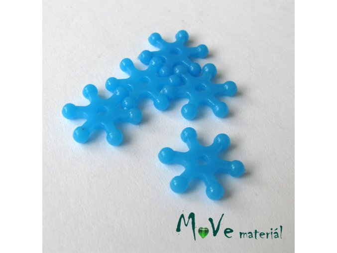 Plastový mezikus - hvězdička, 10kusů, tyrkysová