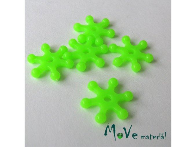 Plastový mezikus - hvězdička, 10kusů, světle zelená