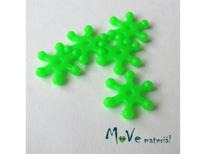 Plastový mezikus - hvězdička, 10kusů, zelená