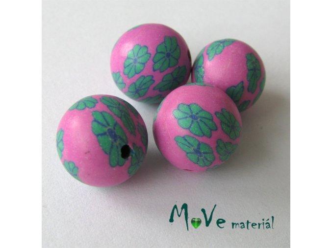 Fimo korálky 12mm, 4 kusy, růžovozelené