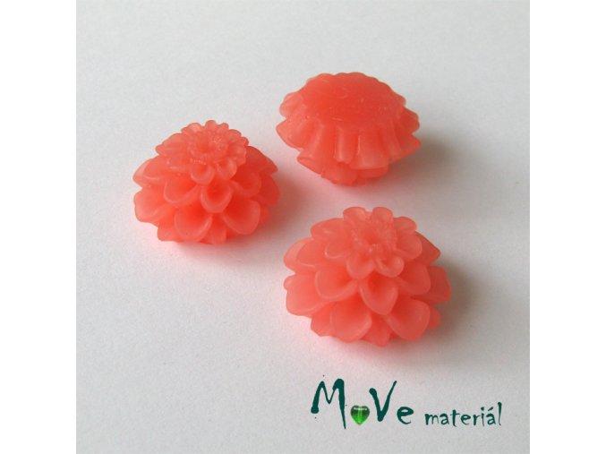 Kabošon květ transparentní A5- resin -2ks, broskvový