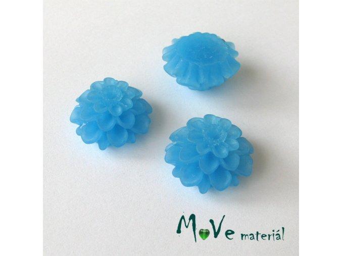 Kabošon květ transparentní A5 - resin -2ks, středně modrý