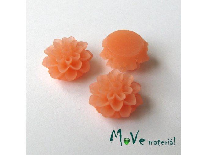 Kabošon květ transparentní A6- resin - 2ks, broskvový