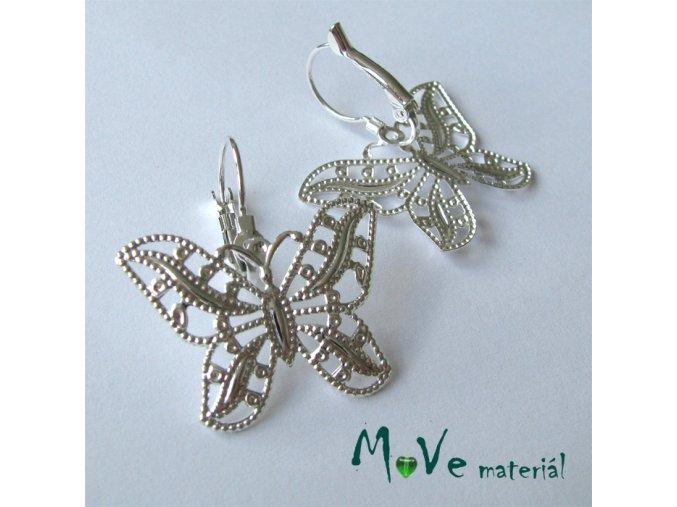 Náušnicové zapínání filigrán motýl, 1pár, stříbrný